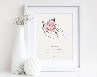 Personalised Mothers Day Illustration Print, Mothers Day Gift, Rose Print, Wall Art, Home Decor, Gift For Her,