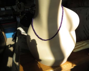 Handcrafted Genuine Amethyst 18 Inch Choker Beaded Necklace, Wt. 12 Grams
