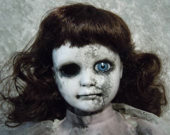 Creepy Old Doll with One Eye #135 Dark Art  Horror Collectible  Day of the Dollies