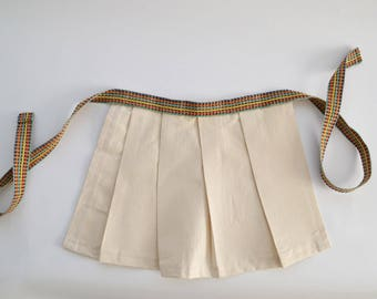 Toddler/Child's Pleated Half Apron with Rainbow Cord Ties