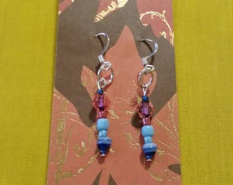 "GLASS DANGLE EARRINGS - Pink and Blue Glass Beads on Sterling Silver clad Wire - 1"" Long"