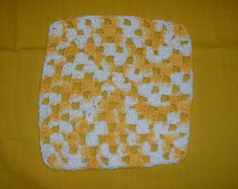 "GRANNY SQUARE TRIVET - Yellow and White, 8"" length, 8"" width"