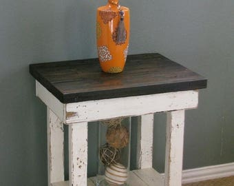 SALE White End Table With Shelf
