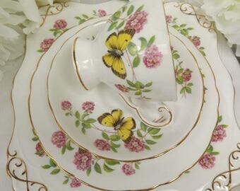 Tuscan Butterfly ( Yellow) Teacup, saucer , Plate PLUS Cakeplate