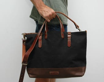 waxed canvas bag/tote bag/ with leather handles and closures,black/chocolatte color
