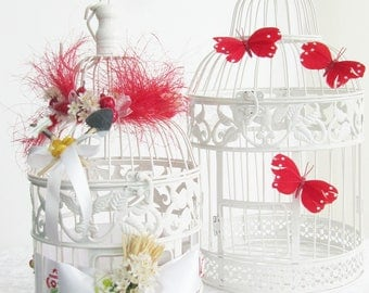 Birdcage wedding country urn apples pears flowers watering cans