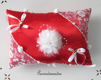 Red satin ring bearer pillow flowers beads feathers and lace