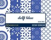 Mexican tile digital paper | Delft blue scrapbook paper | Tile blue digital paper | Tile digital paper | Blue geometric print paper digital