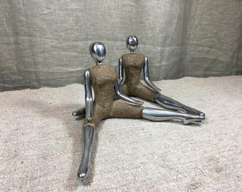 Mid Century style Lady sculptures from metal and stone