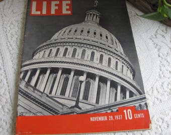 Life Magazines 1937 November 29 United States Capitol Vintage Magazines and Advertising