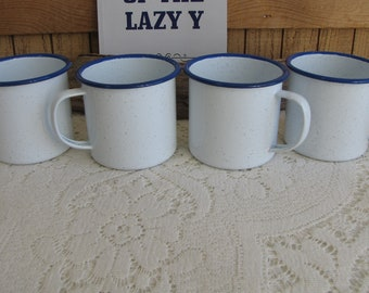 White Enamel Mugs Set of Four (4) Blue Trimmed Vintage Camping and Outdoor Gear