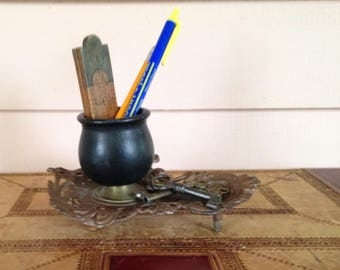 Desk accoutrement - Organizer - Cast Metal with Ebonised Holder - Desk Decor - Paperweight
