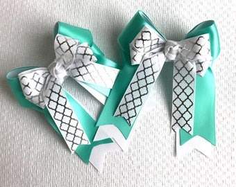 SHORTY - Equestrian bows, Equestrian clothing, Over Fences in Teal, Special gift