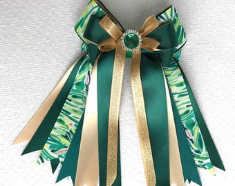 Lilly Inspired Horse Show Hair Bows/Green Gold/Green Sparkle Gem