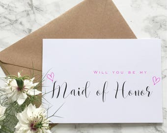 Will you be my Maid of Honor Card, Maid of Honor Proposal Card, Will you be My Matron of Honor Card Bridesmaid Proposal Card Asking Card