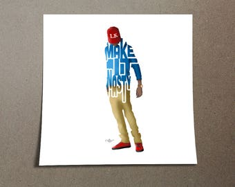 "Tyga Poster Typography Design of Rapper with lyrics, ""Make it Nasty"" Blue and Gold Poster of Rapper and Singer Tyga for Home Wall Decor"