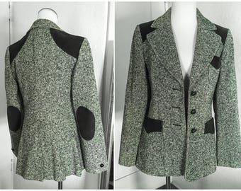 Vintage Forest Green Corduroy Elbow Patches Tweed Blazer Jacket S M