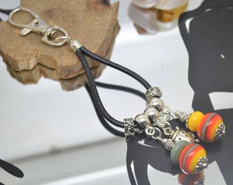 Bag charm with glass beads give persimmon orange red yellow Lampwork Ladybug