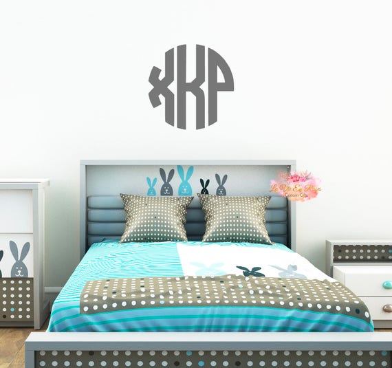 Personalized Monogram Wall Decal Circle Wall Decor Vinyl Wall - Custom vinyl wall decals circles