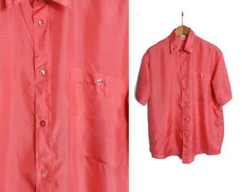 Silk shirt, Pink silk shirt, Mens silk shirt, Short sleeve shirt, Button shirt, Green Dress shirt, Vintage 80s shirt, Summer shirt / Medium