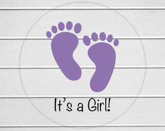 It's A Girl Stickers, Transparent Baby Shower Stickers, Baby Shower Envelope Seals, Birth Announcements (#162-1-C)