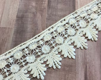 """OFF WHITE, 3"""" Wide Venice Lace, Crochet Lace, Boho Trim, BTY By The Yard"""