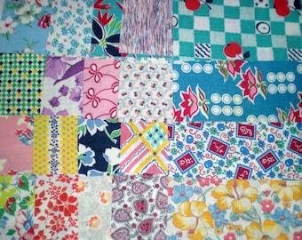 Vintage Feedsack Flour Sack Fabric Scrap Bag 50 Destash Small Strips Squares Rectangles 1930s 40s 50s  Quilts Crafts