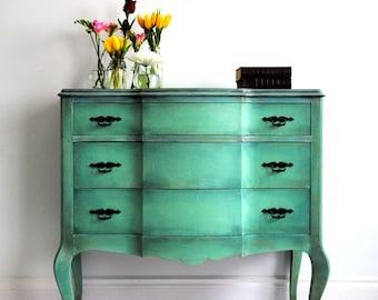 Hand painted aqua dresser