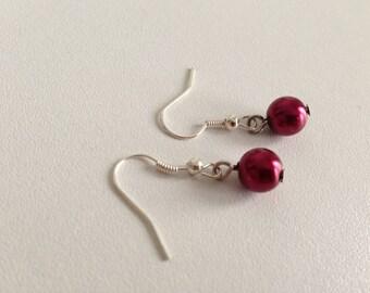 Wedding earrings Burgundy pearls