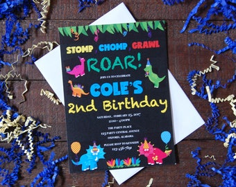 Dinosaur Birthday Invitation, Dino Birthday Invitation. Dinosaur Birthday, Boy Birthday Invitation