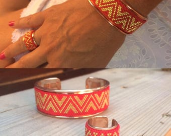 Bracelet beads woven cuff Golden brass hand adaptable to any wrist