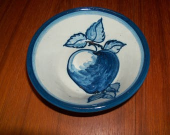 Vintage Original Dorchester Pottery Fruit Pattern Cereal Bowl - Peach and Leaves Design