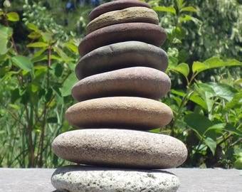 8 Natural Flat Stones, Stack Of Stone, Fairy Garden Decoration, Zen Garden Decoration, Stackable Stones, Natural River Stones, Flat Stones
