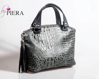gator leather bag, domed satchel, purse for women, leather handbag, gator leather domed handbag, gator embossed handbag