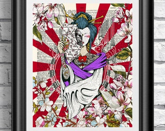 Tattooed Japanese Geisha, Dictionary book page Poster, Unique gift idea