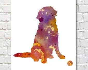 Golden Retriever Art Print - Abstract Watercolor Painting - Dog  - Wall Decor