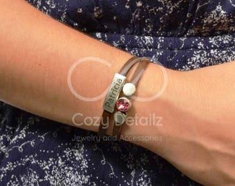 SPRING SALE new mom gift, personalized birthstone bracelet, birthday bracelet, custom engraved leather bracelet, name bracelet, birthstone j