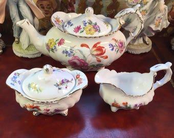 Hammersley Teapot, Creamer and Sugar Bowl.
