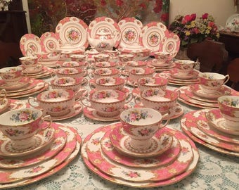 Royal Albert Lady Carlyle Dinner Service for Twelve. 93 pieces.