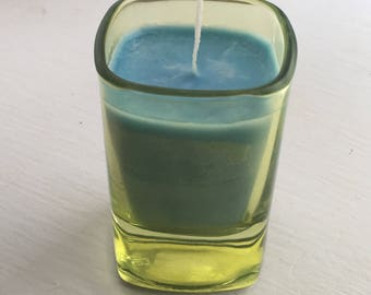 Turquoise Blue Soy Candle in Shot Glass Votive