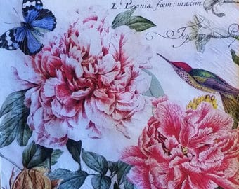 Two (2) Paris, Peony Flowers, Birds, Paper Cocktail Napkins for Decoupage and Paper Crafts