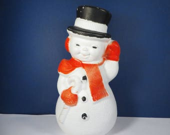 Vintage Plastic Lighted Snowman Blowmold - Plastic Lighted Blow Mold