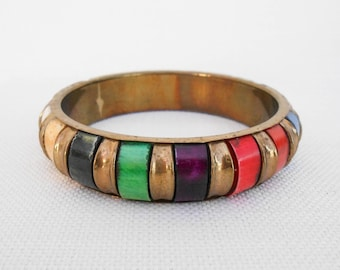Brass and Wood Bangle - Multicoloured - Boho Bracelet - Vintage Costume Jewellery - Festival Jewelry - Chunky Bangle - Hippy Bangle