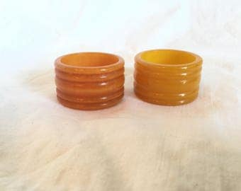 Vintage Bakelite Yellow Butterscotch Rimmed Napkin Rings