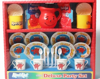 Vtg Kool-Aid Deluxe Party Set by Wolverine, Chid's Kool-Aid Tea Set-1983 Sealed