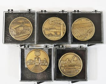 5 Vtg Union Pacific Railroad Safety Through Quality Medallion Coins #2 3 4 5 6