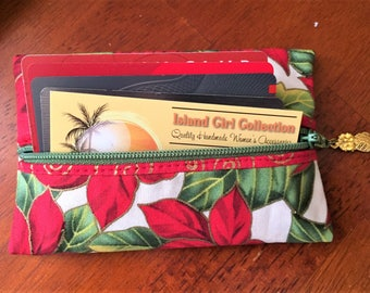 Zipper Pouch, Tissue Holder, Business Card Holder, Credit Card Holder, Coin Pouch in Poinsettia Print - Made in Maui