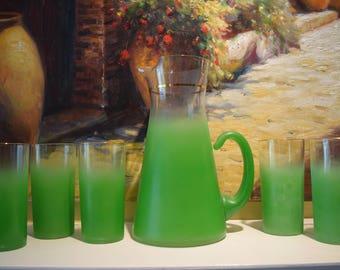 Green Blendo Pitcher and 5 Glasses West Virginia Blendo Glassware