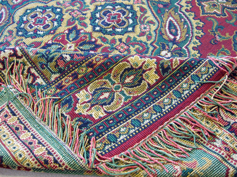 Oriental Tapestry Table Cloth Vintage Jacquard Rug Throw