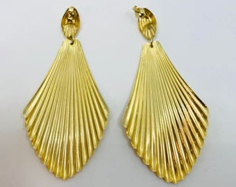 SALE- EARRINGS-14K Large Long Shell Fan Huge Chandelier Yellow Gold Bold Statement Stunning Vintage Drop Pierced 90s Bold Free shipping